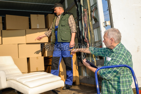 two mover load van with furniture