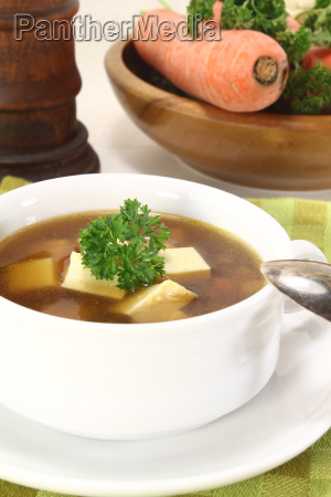 beef consomme with greens