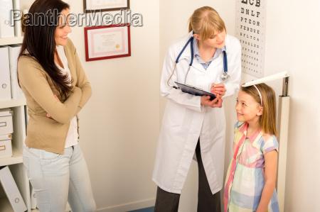 medical check up at pediatrist girl