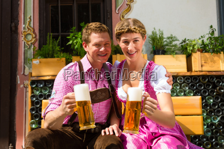 happy couple with beer in the