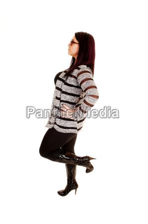 mulher liberado retrato em pe isolado