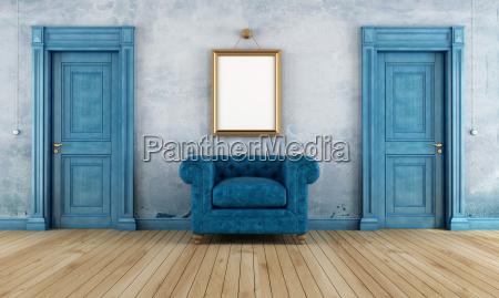quarto azul do vintage