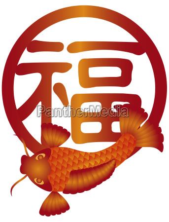 peixe chines asiatico carpa prosperidade caligrafia