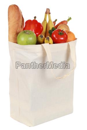 saco de compra com frutas e