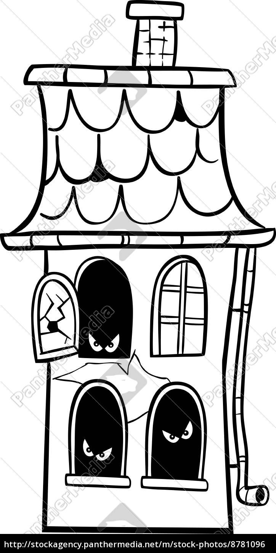 Desenhos Animados Para Colorir Casa Assombrada Stockphoto
