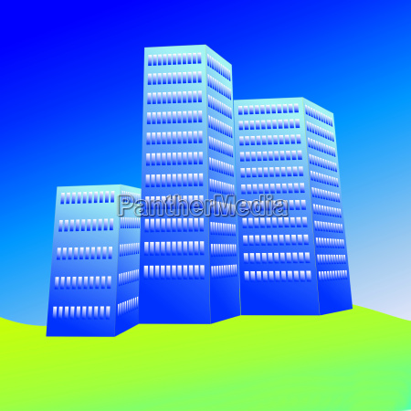 3 graficos azuis dos arranha ceus