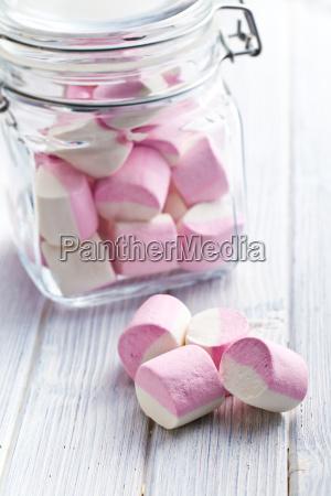 marshmallows doces em jarra de vidro