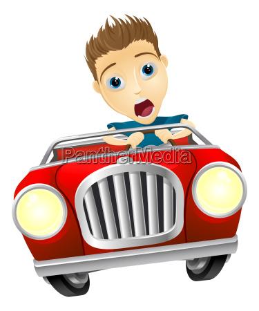 homem dos desenhos animados que conduz