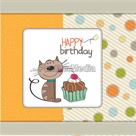 cartao de aniversario com um gato