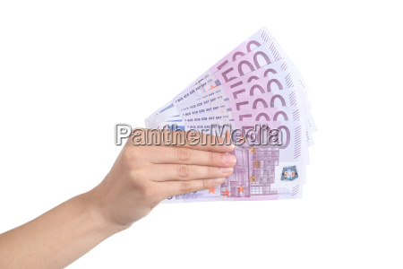 woman hand paying a lot of