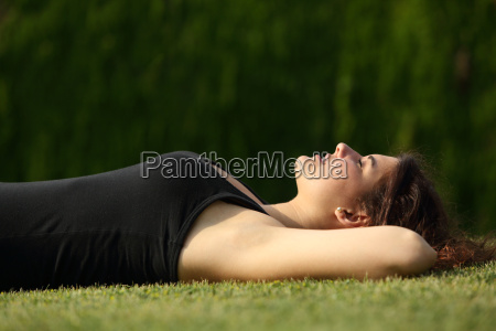 attractive woman relaxed lying on the