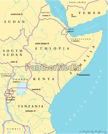 mapa politico da africa oriental