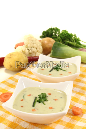 cream of vegetable soup with parsley