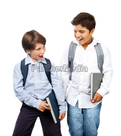 two happy schoolboys