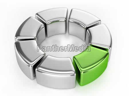 anel grafico prata e verde