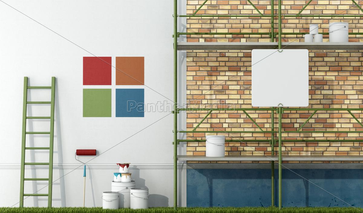 renovação, de, uma, fachada, antiga - 10014392