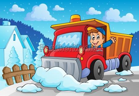 imagem, de, tema, arado, de, neve - 10221517