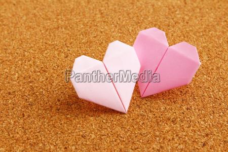 coração, colorido, origami, no, corkboard - 10250079