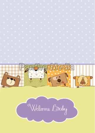 cartão, do, chuveiro, com, animais, engraçados - 10309047