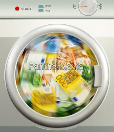 lavagem, de, dinheiro., euro-moeda, europeia - 10321319