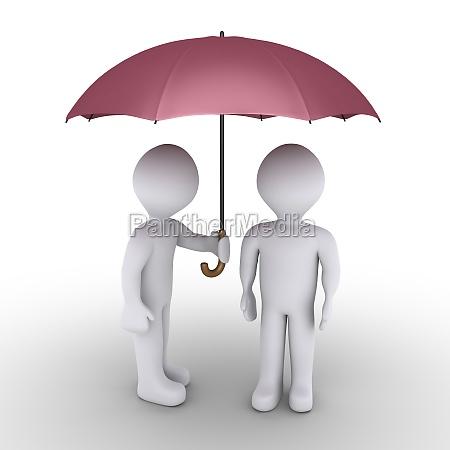 person schutz mit regenschirm ein anderes