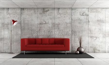 mobiliario interior concreto sofa vazio minimalista