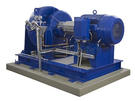 compressor industrial azul no branco