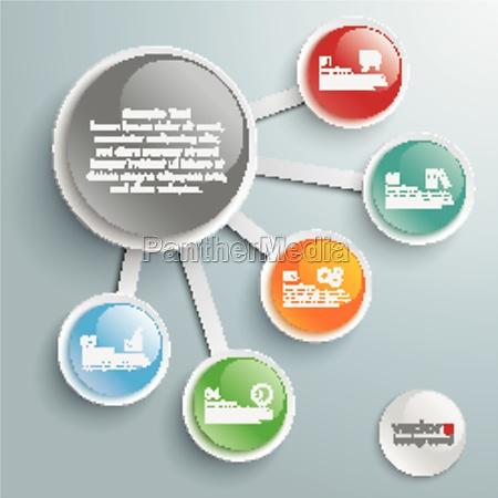 infografico grande e 5 pequenos botoes