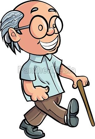 avo dos desenhos animados caminhando com