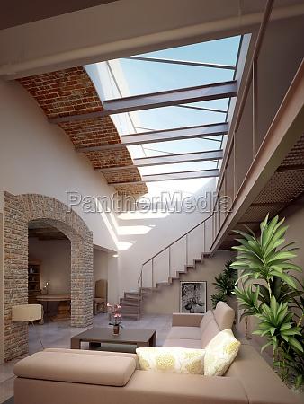 casa moderna com sala de estar