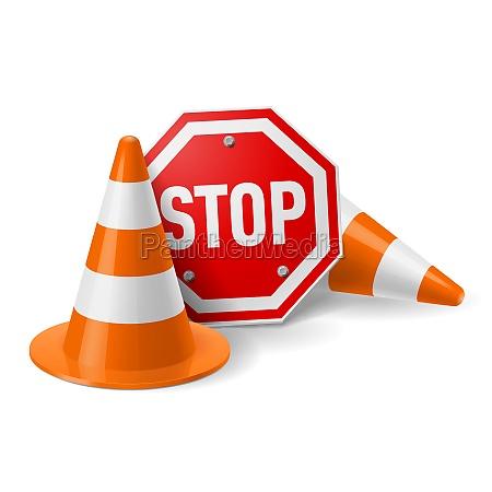 trafego cones vermelho parada sinal