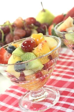 fruit salad on a napkin