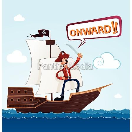 pirata em um navio de navigacao