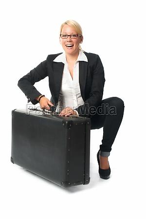 geschäftsfrau, mit, reisekoffer - 11818847