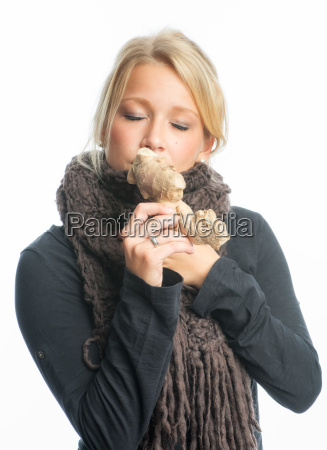 sick woman with ginger bulb