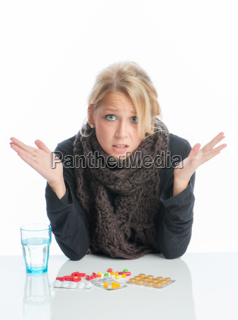 sick blonde woman with medication