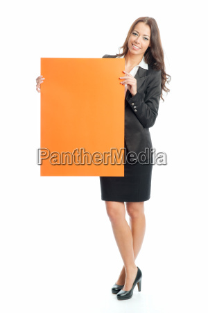 young businesswoman holding an advertising sign