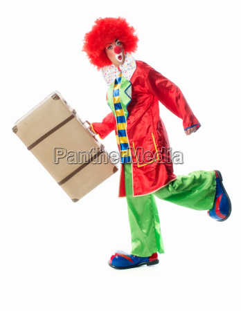 clown with suitcase