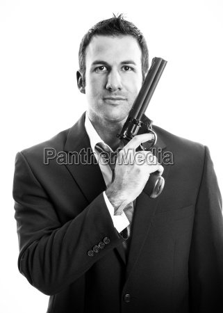 young man with weapon