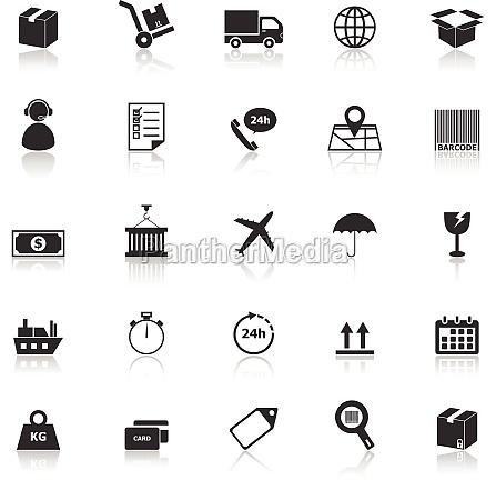 icones de logistica com refletem sobre