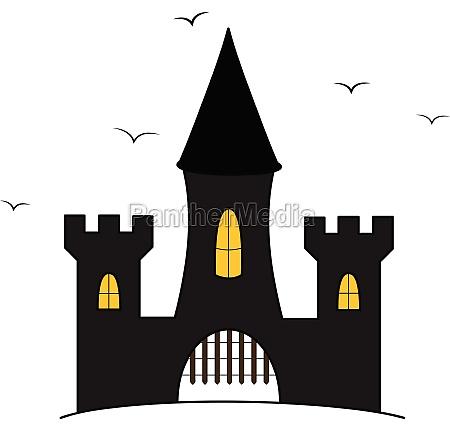 caricatura castelo ilustracao com voando corvos