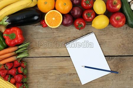 lista de compra com frutas e