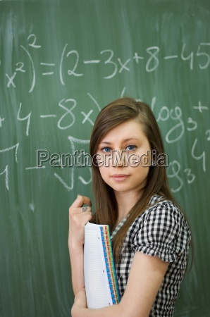 student girl in looking at camera