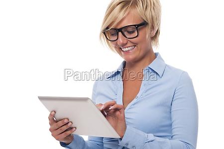 happy businesswoman using modern digital tablet