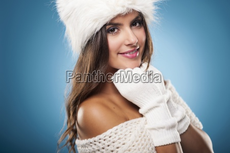 portrait of gorgeous winter woman wearing