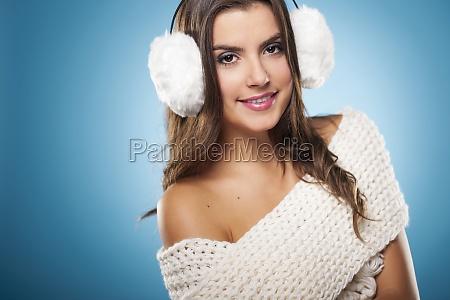 portrait of beauty woman wearing white