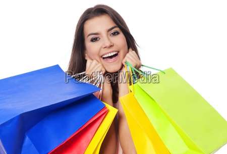 happy woman with full of shopping