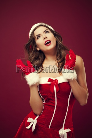 portrait of beautiful santa woman