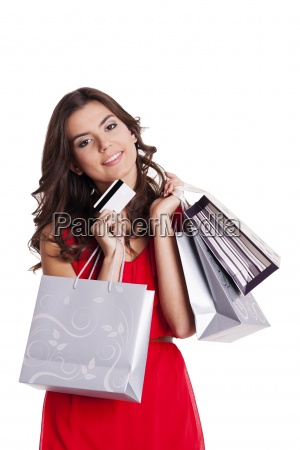 young woman with credit card and