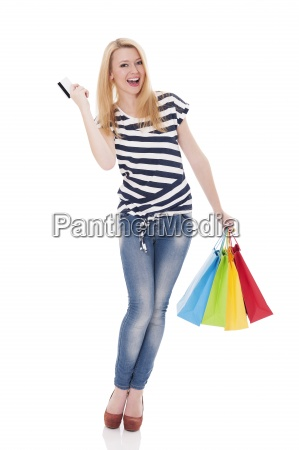 beautiful blonde woman with shopping bags